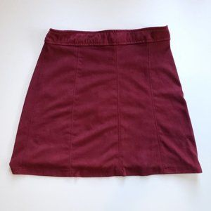 Bershka Red Faux Suede A-Line Mini Skirt XS